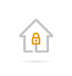 Logo combination of a lock and house vector