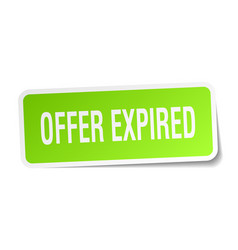 Offer expired square sticker on white vector