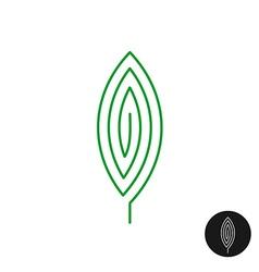 One green leaf linear style logo maze mystery vector