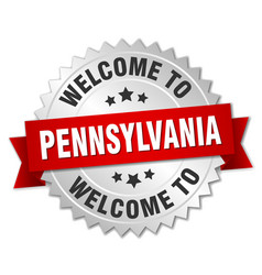 Pennsylvania 3d silver badge with red ribbon vector