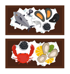 seafood flat tasty cooking delicious can be used vector image vector image