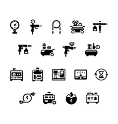 Set icons of electric generator and air compressor vector