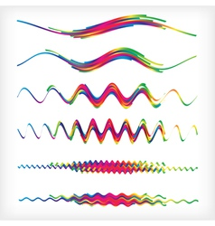 Set of 6 wavy rainbow dividers abstract vector