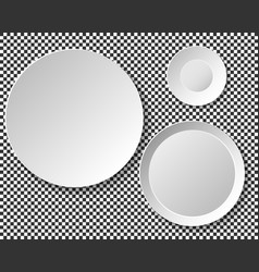 Set of empty white plates dish wall template for vector