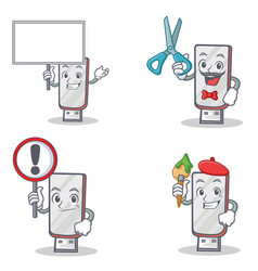 Set of flashdisk character with bring board barber vector
