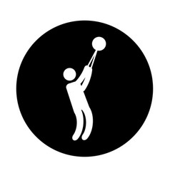 silhouette of athlete practicing bullet throw vector image vector image