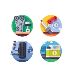 Spare parts set icons vector