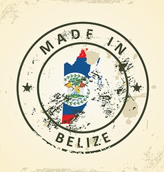 Stamp with map flag of Belize vector image