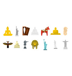 Statue icon set flat style vector