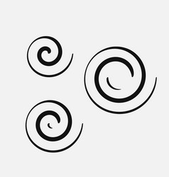 Three circular spirals of different sizes vector