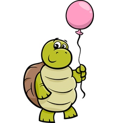 Turtle with balloon cartoon vector
