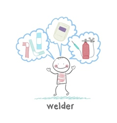 welder thinks about welder helmet and pipe vector image vector image