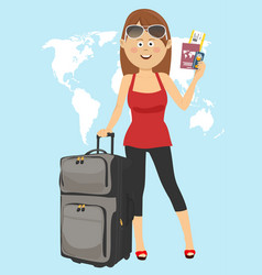 young woman tourist stands with suitcase vector image vector image