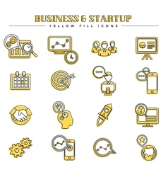 Business and startup yellow fill icons set vector