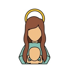 Mary and baby jesus of holy night design vector