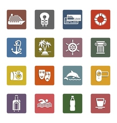 Travel vacation  recreation icons set vector