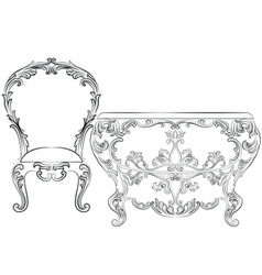 Fabulous rich rococo furniture set vector