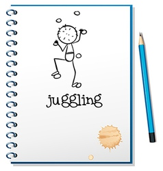 A notebook with a person juggling at the cover vector