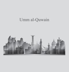 Umm al-quwain city skyline silhouette in grayscale vector