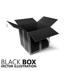 Black open box 3d design element vector