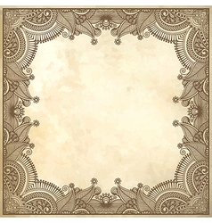 Flower frame design on grunge background vector