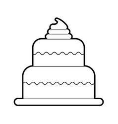 Sweet baked cake birthday cream delicious vector