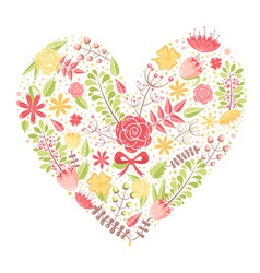 Beautiful flower heart postcard vector image