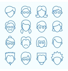 Simple line faces icons set vector