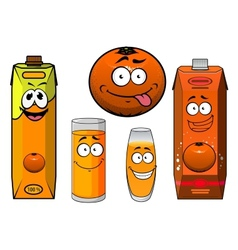 Cartooned orange fruit juice containers and vector