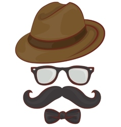 Set hipster accessories - hat glasses mustache vector