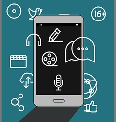Modern smartphone with media icons vector