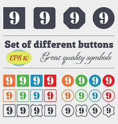 Number nine icon sign big set of colorful diverse vector