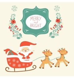 Merry christmas card with cute santa claus and vector