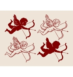 Set of cute cupid silhouettes vector