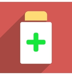 Medication bottle flat longshadow square icon vector