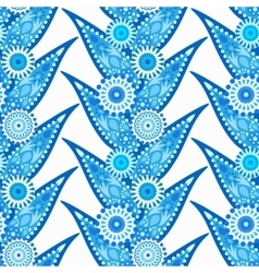 Intricate blue leaves and flowers pattern vector