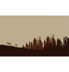Silhouette of city on the field vector