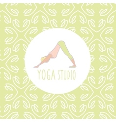 Dog downwards pose yoga studio design card vector