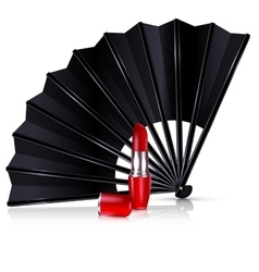 Black fan and red lipstick vector
