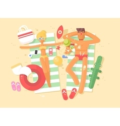 Young couple resting on the beach vector image