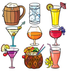 Drinks cocktails icon set vector image