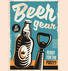 Beer bottle and beer opener retro poster design vector