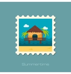 Bungalow with palm trees stamp Summer Vacation vector image