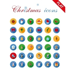 Christmas icons set and design elements vector image vector image