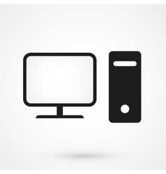 Computer icon black on white background vector