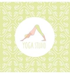 Dog downwards pose yoga studio design card vector