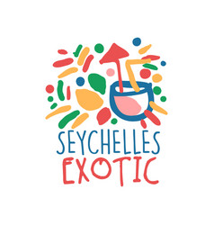 Exotic seychelles vacation travel logo vector