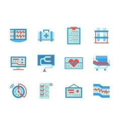 Flat color design healthcare icons vector image vector image