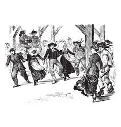Group dancing same steps at the same time vintage vector
