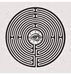 Hand drawn maze labyrinth with eye in it vector